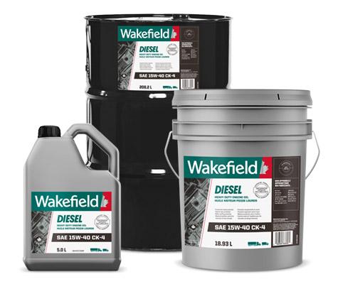 Photo of Wakefield Diesel Engine Oil CK-4 jug, pail and drum formats.