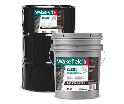 Photo of Wakefield Diesel Engine Oil FFA-4 jug, pail and drum formats.