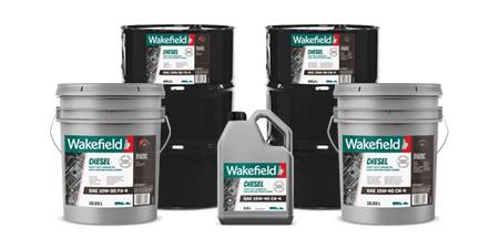 Photo of Wakefield Diesel Engine Oils jug, pail and drum formats.