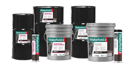 Photo of Wakefield Lithium and MP Grease cartridge, pail and drum formats.