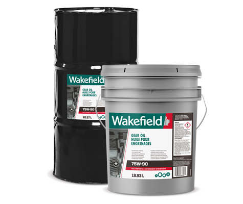 Photo of Wakefield Gear Oil pail and drum formats.
