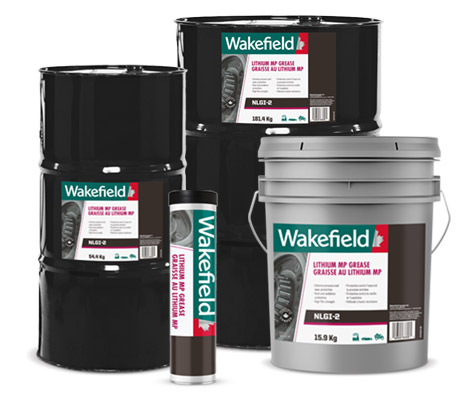 Photo of Wakefield Lithium Grease cartridge, pail, keg and drum formats.