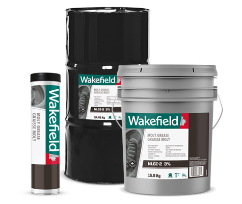 Photo of Wakefield MP Grease cartridge, pail and keg formats.